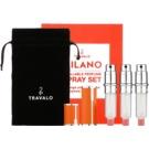Travalo Milano set cadou IV. Orange sticluta reincarcabila cu atomizér 3 x 5 ml + husă din piele de căprioară