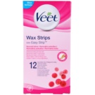 Veet Wax Strips benzi depilatoare cu ceara rece unt de shea si arome de fructe de padure  12 buc
