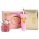 Versace Bright Crystal подаръчен комплект XIX. тоалетна вода 90 ml + мляко за тяло 100 ml + козметична чанта