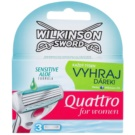 Wilkinson Sword Quattro for Women Sensitive Ersatzklingen 3 pc (Sensitive Aloe Formula)