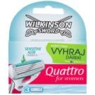 Wilkinson Sword Quattro for Women Sensitive Резервни остриета 3 бр