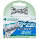 Wilkinson Sword Quattro Titanium Sensitive recarga de lâminas (With Aloe) 4 un.