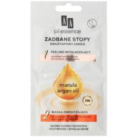 AA Cosmetics Oil Essence Argan&Marula masca si peeling pentru picioare  2 x 5 ml