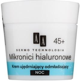 AA Cosmetics Dermo Technology Hyaluronic Microthreads  fiatalító és simító éjszakai krém 45+  50 ml