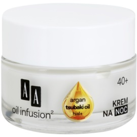 AA Cosmetics Oil Infusion2 Argan Tsubaki 40+ crema regeneratoare de noapte cu efect antirid  50 ml