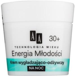 AA Cosmetics Age Technology Youthful Vitality éjszakai tápláló és bőrkisimító krém 30+  50 ml