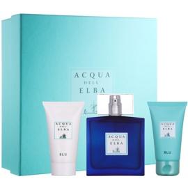 Acqua dell' Elba Blu Men ajándékszett IV.  Eau de Parfum 100 ml + testsampon 50 ml + arc- és testkrém 50 ml