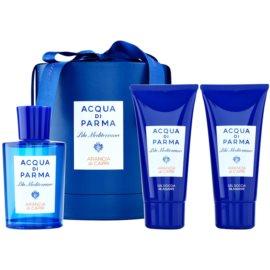 Acqua di Parma Blu Mediterraneo Arancia di Capri Geschenkset II. Eau de Toilette 150 ml + Körperlotion 75 ml + Duschgel 75 ml
