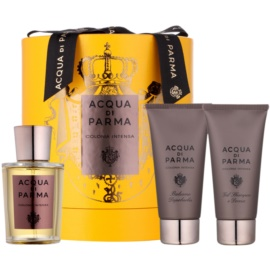 Acqua di Parma Colonia Intensa zestaw upominkowy II.  woda kolońska 100 ml + balsam po goleniu 75 ml + żel pod prysznic 75 ml