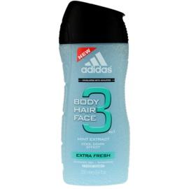 Adidas 3 Extra Fresh gel za prhanje za moške 250 ml