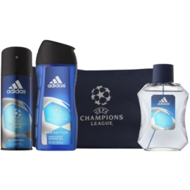 Adidas UEFA Champions League set cadou IV.  Apa de Toaleta 100 ml + Spray 250 ml + Gel de dus 150 ml + Geanta 1 ks
