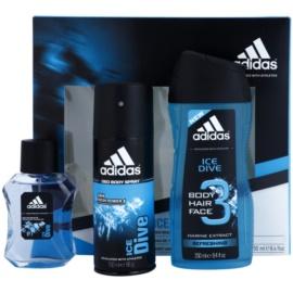 Adidas Ice Dive darčeková sada III. toaletná voda 50 ml + deodorant v spreji 150 ml + sprchový gel 250 ml