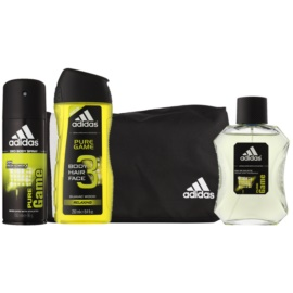 Adidas Pure Game lote de regalo ІХ  eau de toilette 100 ml + gel de ducha 250 ml + spray corporal 150 ml + bolsa