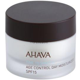 Ahava Time To Smooth denní hydratační krém proti stárnutí pleti s kyselinou hyaluronovou SPF 15 50 ml