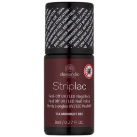 Alessandro Striplac Peel-Off UV/LED Nail Varnish Shade 154 Midnight Red 8 ml
