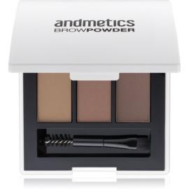 andmetics Brows pudra  pentru sprancene culoare Olive, Taupe, Dark Brown 5,4 g