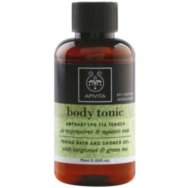 Apivita Body Tonic Bergamot & Green Tea gel de duche e banho  75 ml