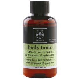 Apivita Body Tonic Bergamot & Green Tea gel de duche e banho  75 ml