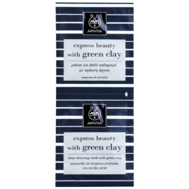Apivita Express Beauty Green Clay masca pentru curatare profunda  2 x 8 ml