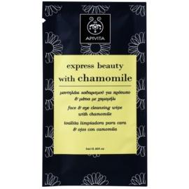 Apivita Express Beauty Chamomile toalhete para limpeza e remoção de maquilhagem para rosto e olhos  5 ml