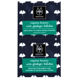 Apivita Express Beauty Ginkgo Biloba maska pod oczy przeciw obrzękom i cieniom  2 x 2 ml