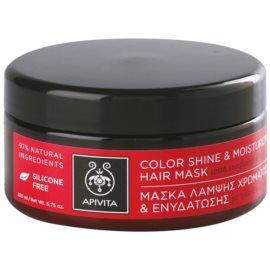 Apivita Holistic Hair Care Sunflower & Honey hydratační a rozjasňující maska pro barvené vlasy  200 ml