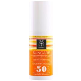 Apivita Sun Care Sea Lavender & Propolis leite solar de rosto e corpo SPF 50 à prova d'água  100 ml