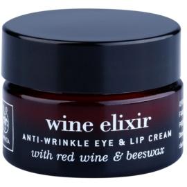 Apivita Wine Elixir Red Wine & Beeswax krema proti gubam za predel okoli oči in ustnic  15 ml