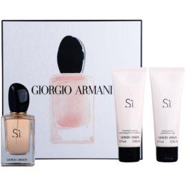 Armani Si set cadou III  Eau de Parfum 50 ml + Gel de dus 75 ml + Lotiune de corp 75 ml