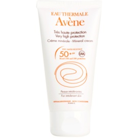 Avène Sun Mineral védőkrém az arcra kémiai szűrő és parfüm mentes SPF 50+ vízálló  50 ml