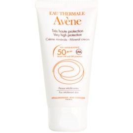 Avène Sun Mineral ochranný krém na obličej bez chemických filtrů a parfemace SPF 50+ voděodolný  50 ml