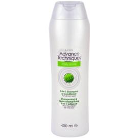 Avon Advance Techniques Daily Shine szampon z odżywką 2 w1 do wszystkich rodzajów włosów  400 ml