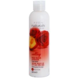 Avon Naturals Body feuchtigkeitsspendende Bodylotion mit roter Rose und Pfirsich  200 ml