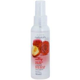 Avon Naturals Body tělový sprej s červenou růží a broskví  100 ml