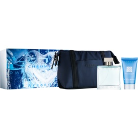 Azzaro Chrome dárková sada XV. Toaletní voda sprej 50 ml + šampon na celé tělo 50 ml + taštička