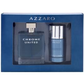 Azzaro Chrome United подаръчен комплект I. тоалетна вода 100 ml + деостик 75 ml