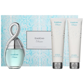 Bebe Perfumes Desire zestaw upominkowy I. woda perfumowana 100 ml + mleczko do ciała 100 ml + żel pod prysznic 100 ml