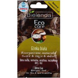 Bielenda Eco Care White Clay bioorganiczna maska do twarzy, szyi i dekoltu  2 x 5 g