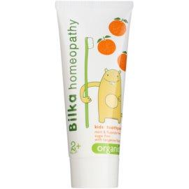 Bilka Homeopathy Organic dětská zubní pasta příchuť Tangerine (2+ Years Old, Mint Free, Paraben Free, Sugar Free) 50 ml