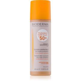 Bioderma Photoderm Nude Touch защитен тониращ флуид за смесена към мазна кожа на лицето SPF 50+ цвят Golden  40 мл.