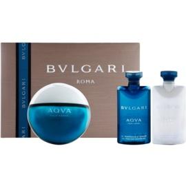 Bvlgari AQVA Pour Homme coffret cadeau XIII.  eau de toilette 100 ml + baume après-rasage 75 ml + gel de douche 75 ml + trousse de maquillage