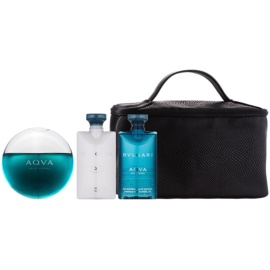 Bvlgari AQVA Pour Homme Gift Set XV.  Eau De Toilette 100 ml + Aftershave Balm 75 ml + Shower Gel 75 ml + Cosmetic Bag