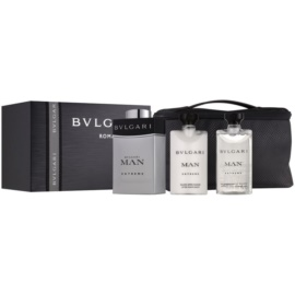Bvlgari Man Extreme Gift Set  VIII.  Eau de Toilette 100 ml + Aftershave balsem  75 ml + Shampoo voor het hele Lichaam  75 ml + Cosmetica tas