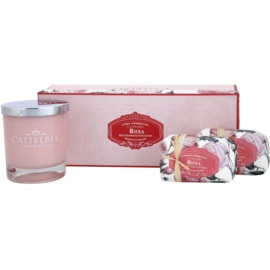 Castelbel Rose dárková sada I. mýdlo 2 x 150 g  + svíčka