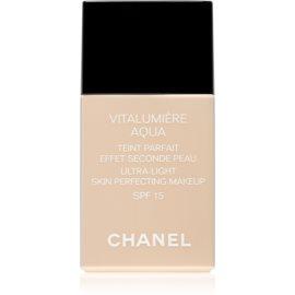 Chanel Vitalumiére Aqua make-up ultra light pentru o piele radianta culoare 10 Beige SPF 15  30 ml