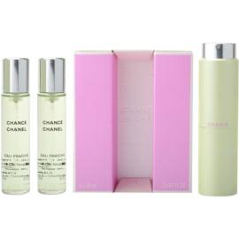 Chanel Chance Eau Fraiche Eau de Toilette pentru femei 3x20 ml (1x reincarcabil + 2x rezerva)