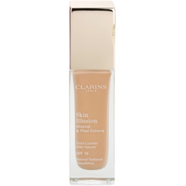 Clarins Face Make-Up Skin Illusion maquilhagem iluminadora para uma aparência natural SPF 10  tom 107 Beige  30 ml