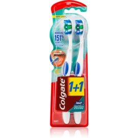 Colgate 360°  Whole Mouth Clean zubné kefky medium 2 ks farebné varianty