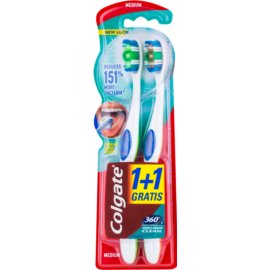 Colgate 360°  Whole Mouth Clean четки за зъби medium 2 бр