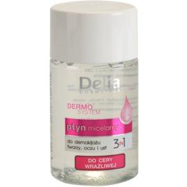 Delia Cosmetics Dermo System agua micelar limpiadora para contorno de ojos y labios 3 en 1  50 ml